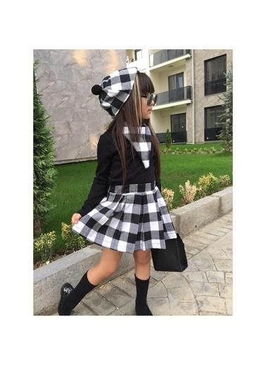 Quzucuk Kids Kız Çocuk Siyah Ekoseli Şapkalı Takım Renkli